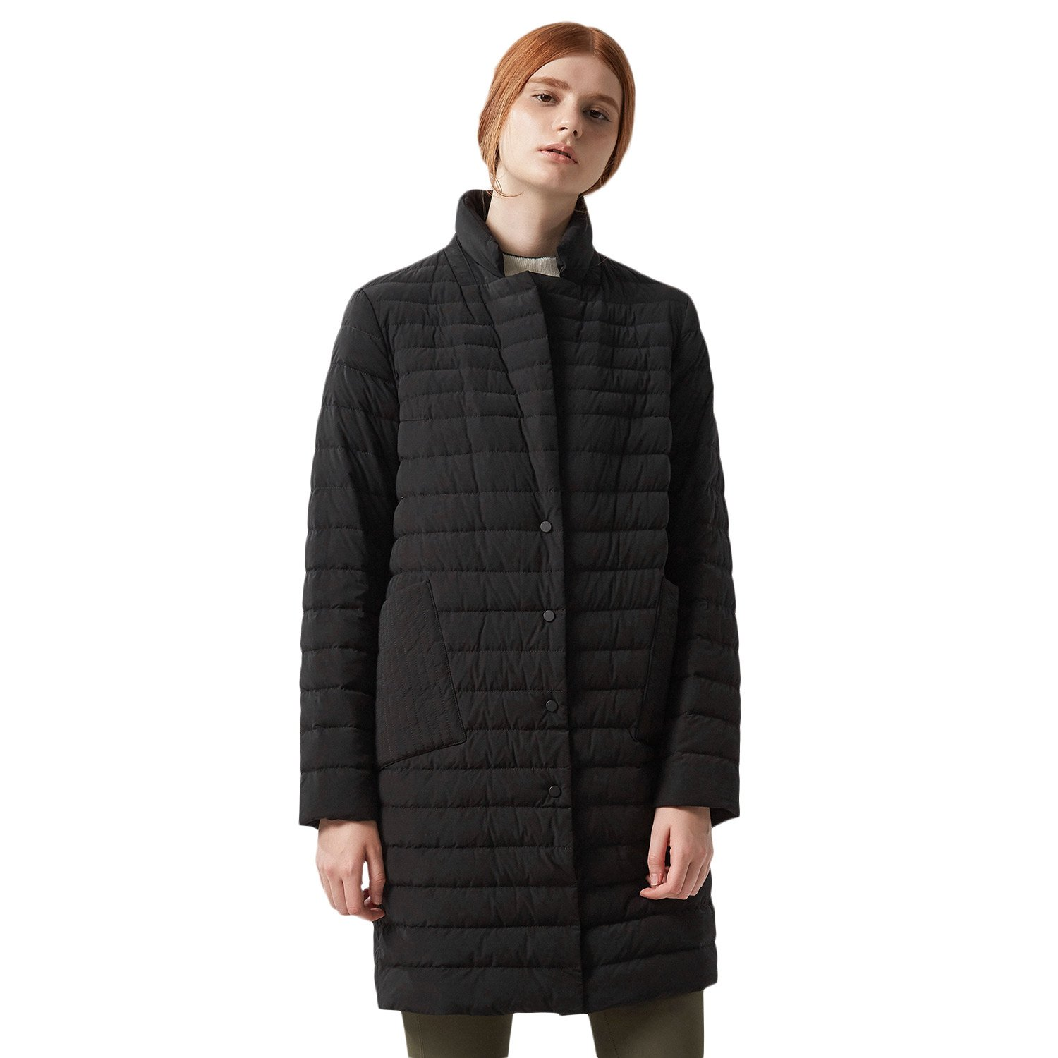 BOSIDENG Women's Early Winter Super Goose Down Jacket Parka Stand Collar Mid-long Business Grace OL Outerwear Basic Top Down Coat (180/100A 8056 Black) by BOSIDENG