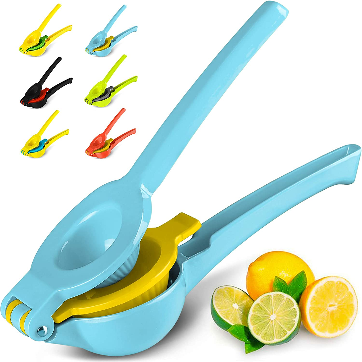 Top Rated Zulay Premium Quality Metal Lemon Lime Squeezer Manual Citrus Press Juicer (Blue Yellow)