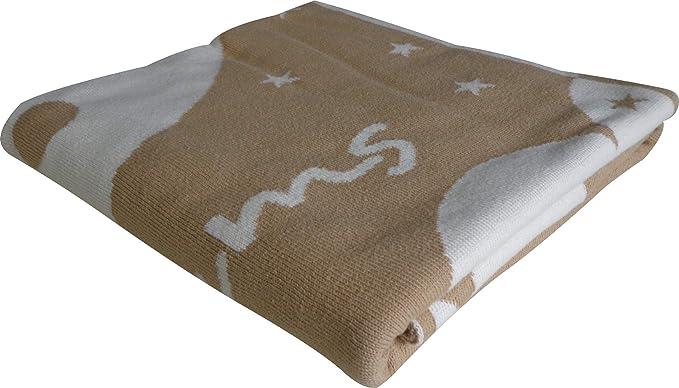 MANTA BEBE SWEET DREAMS de Mantuki. Manta de punto en 100% algodón organico peinado. 0.80 x 110 cm. Perfecta para esos momentos frescos del día o la noche. BEIGE - CRUDO: Amazon.es: Bebé