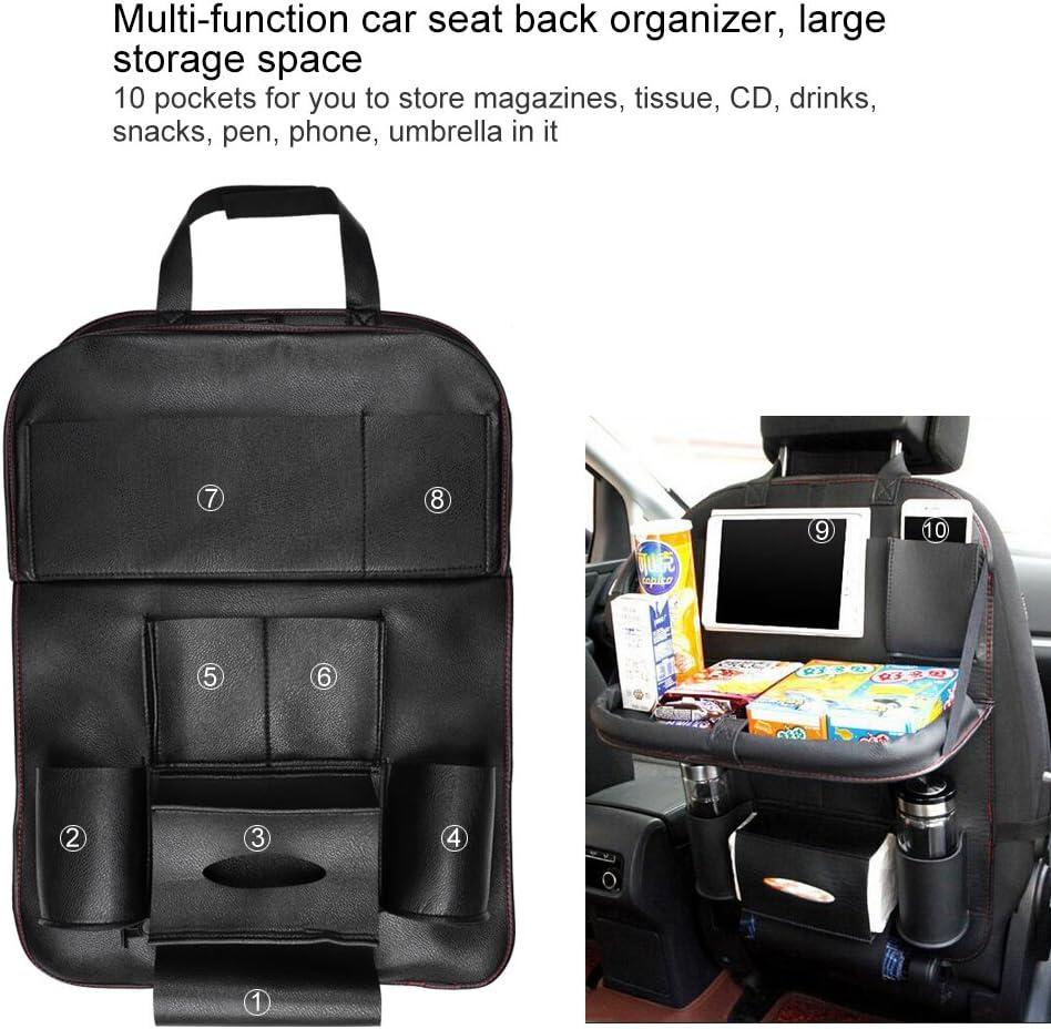 Organizador de asiento trasero de cuero de PU con multibolsillo Vingtank Organizadores de coche Soporte de tableta plegable Organizador de almacenamiento autom/ático de asiento trasero