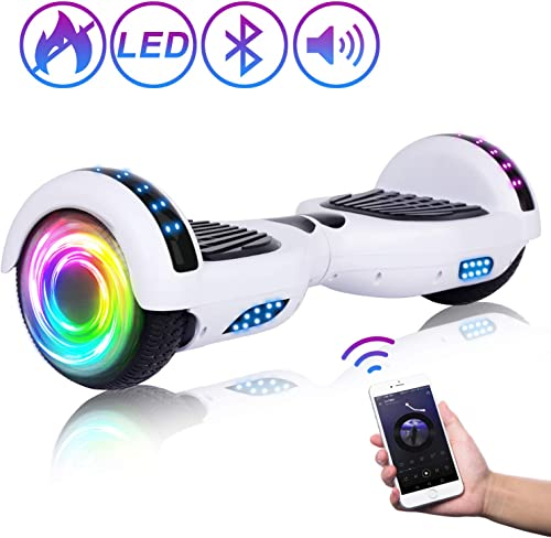 SISIGAD Bluetooth Hoverboard, 6.5 Two-Wheel Self Balancing Hoverboard w Bluetooth Speaker – Pure Color Series
