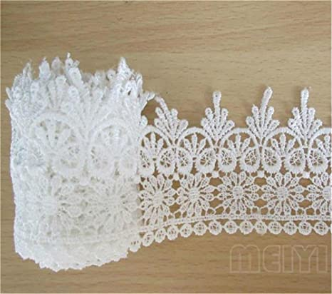 5 Yards Vintage White Elastic Lace Trim Embroidery for Wedding Dress Sewing