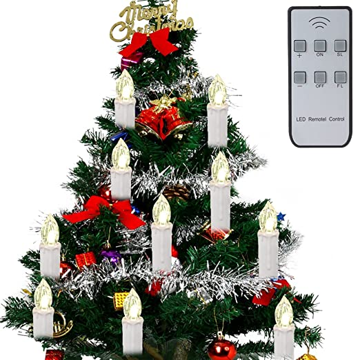 irealist led flameless flickering christmas tree tear candle lights remote control clip on warm white