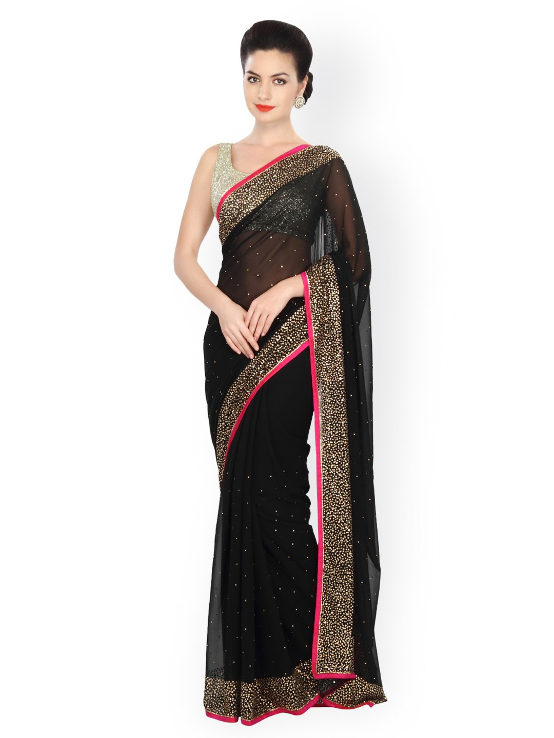 Saree traditional Black Georgette Embellished Saree