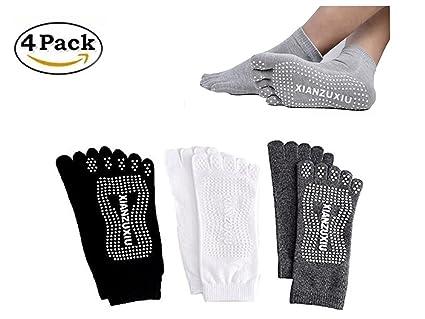 SANIQUEEN.G 4 Pares Hombre 5 Dedos Completos Calcetines Yoga Full Toe Antideslizante Agerre Dedos para Pilates Gimnasio Yoga