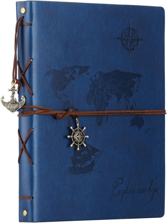 SEEALLDE Álbumes de Fotos, Álbum de Recortes de Cuero de Viaje Mapa del Mundo Vintage DIY Recargable Libro de Memoria Autoadhesiva Cumpleaños Especial Boda para el Padre Novio (Azul, L)