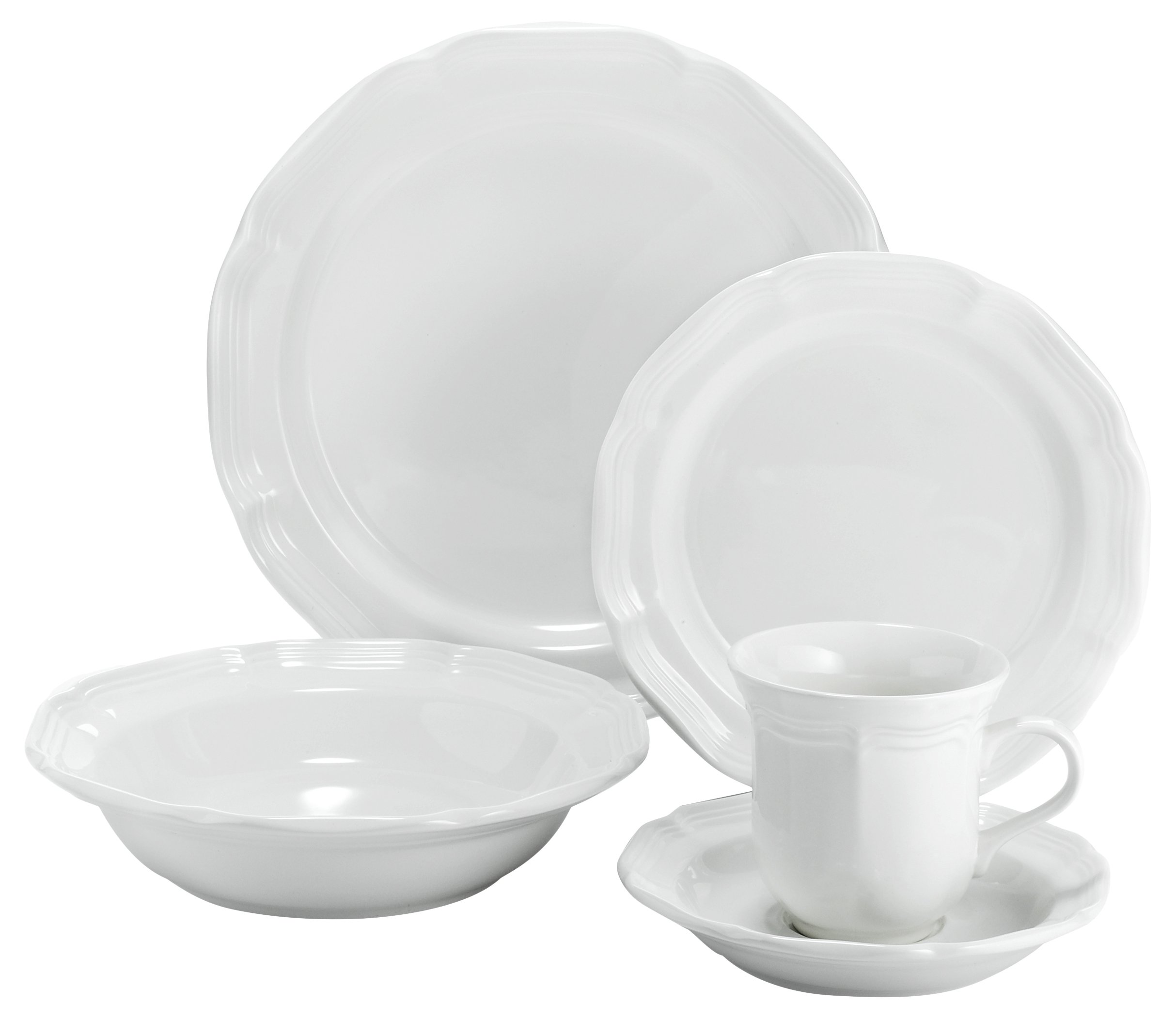 Mikasa 5223388 16 Piece French Countryside Dinnerware Set, Cream