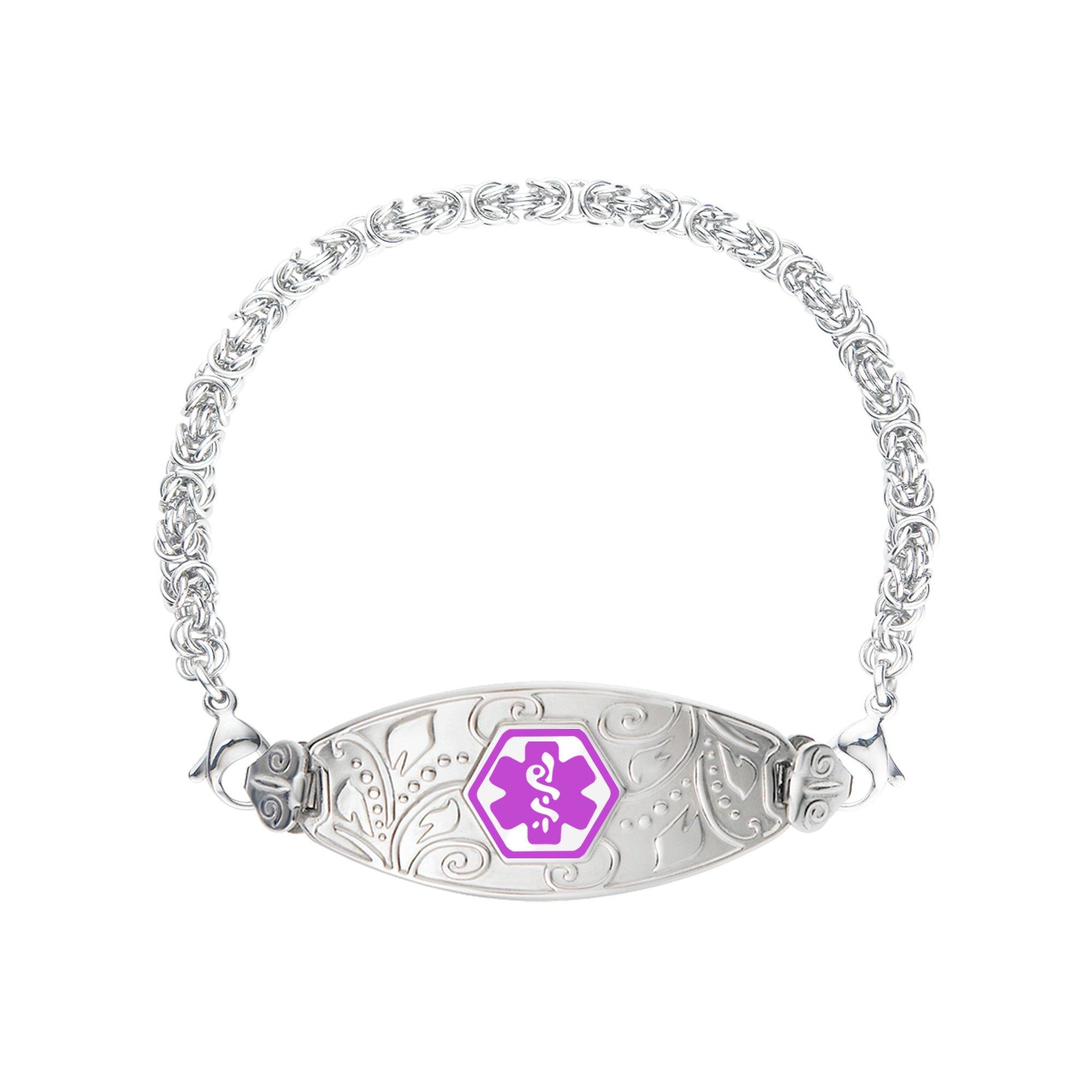 Divoti Deep Custom Laser Engraved Lovely Filigree Medical Alert Bracelet -Stainless Handmade Byzantine-Purple-7.5''