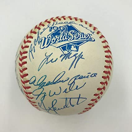 18013cdb997 Image Unavailable. Image not available for. Color  1991 Atlanta Braves NL  Champs Team Signed Official World Series Baseball ...