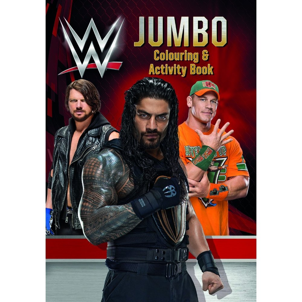 Jumbo WWE Colouring And Activity Book Featuring John Cena Roman Reigns Aj Styles & More