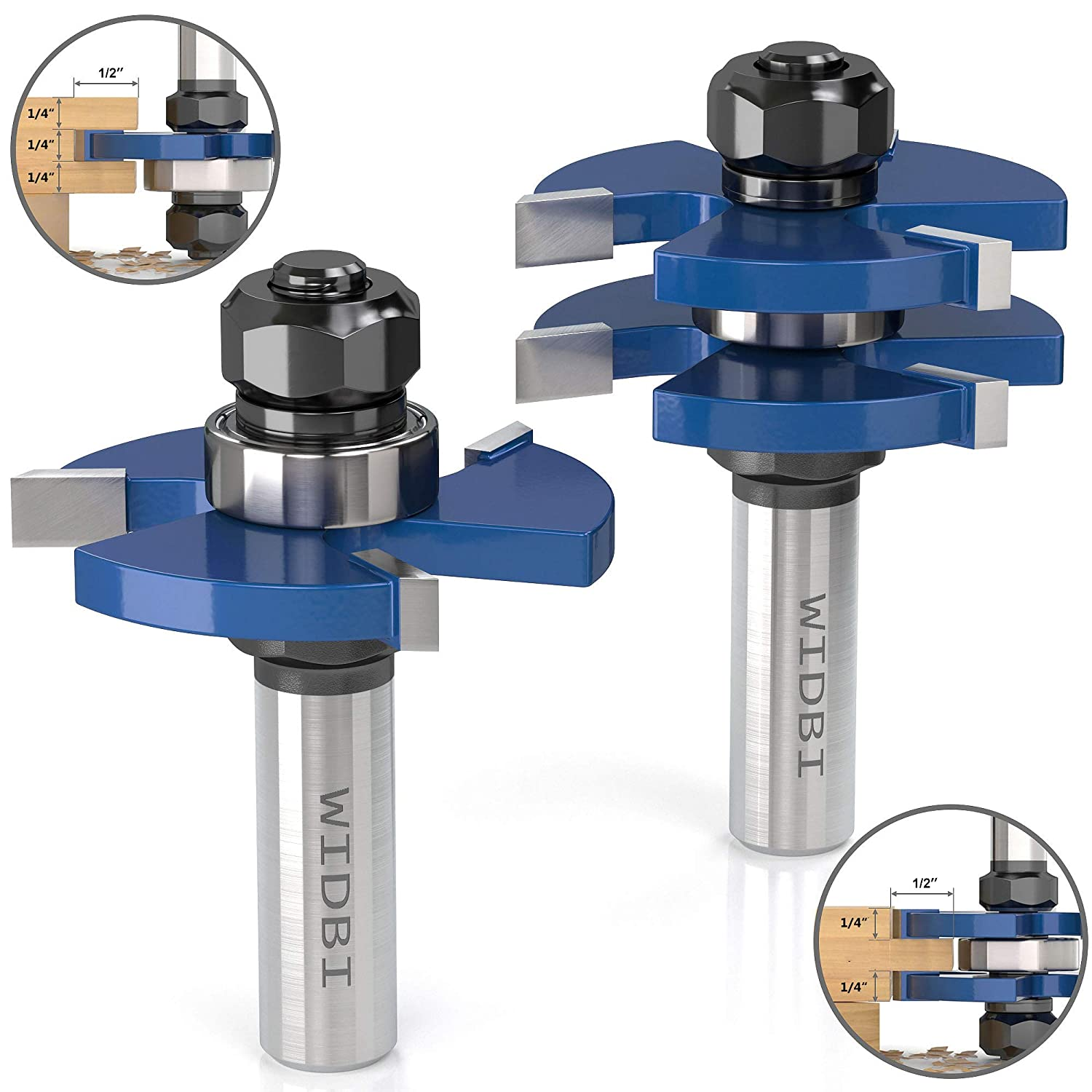 "Premium Tongue and Groove Router Bits (Spacers Included) - 1/2"" Shank 3 Teeth T-Shape Milling Cutter, Hardened K10 Carbide Router Bits for Woodworking (2 pcs) WIDBI"