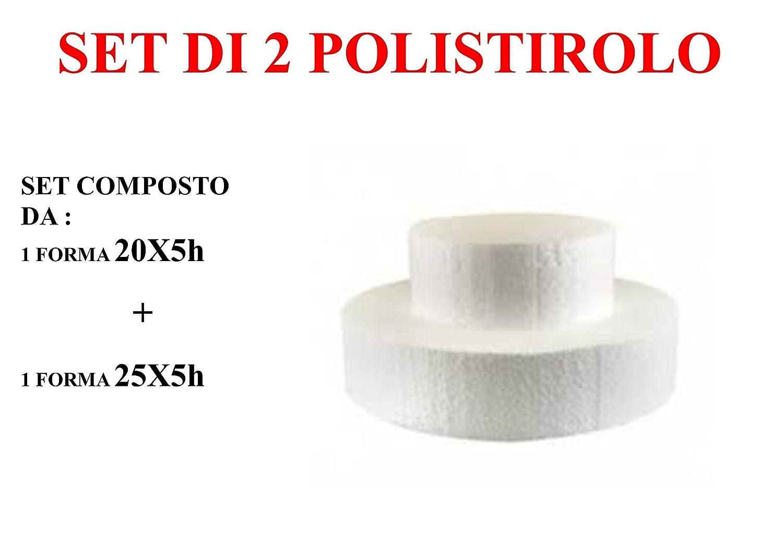 1 Polistirolo 20x5 cm - 1 Polistirolo 25x5 cm Kit n/°13 Set da 2 Basi di Polistirolo Tondo Altezza 5 cm Cdc