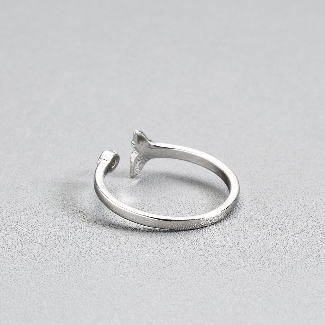 QIAMNI Shining Crystal Lovely Dolphin Whale Fish Tail Animal Open Finger Ring Birthday Gift Christmas Party Jewelry