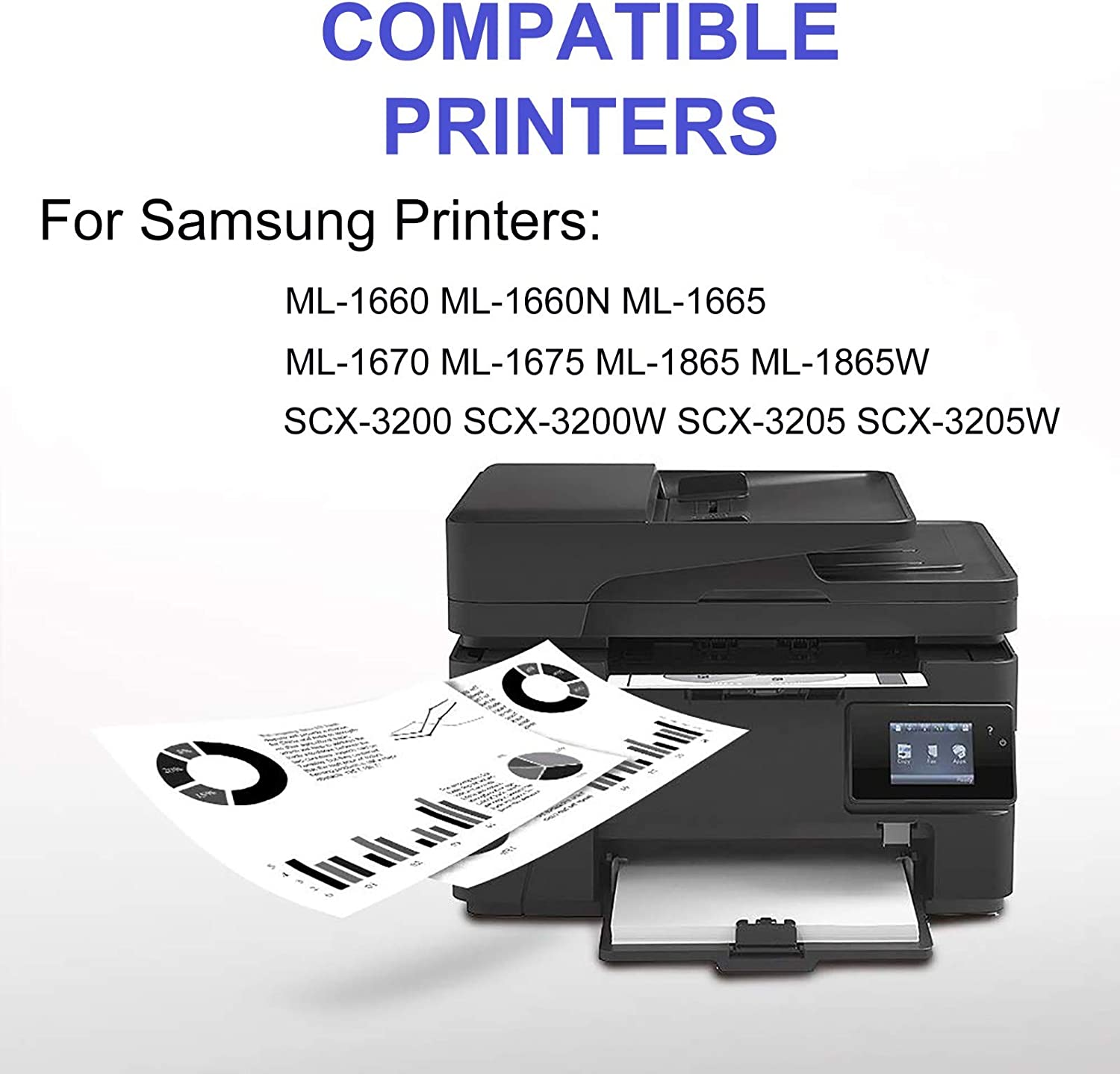 Black 6-Pack Compatible High Capacity ML-1660N ML-1665 ML-1670 ML-1865W Printer Toner Cartridge Replacement for Samsung MLT-D104S Printer Cartridge