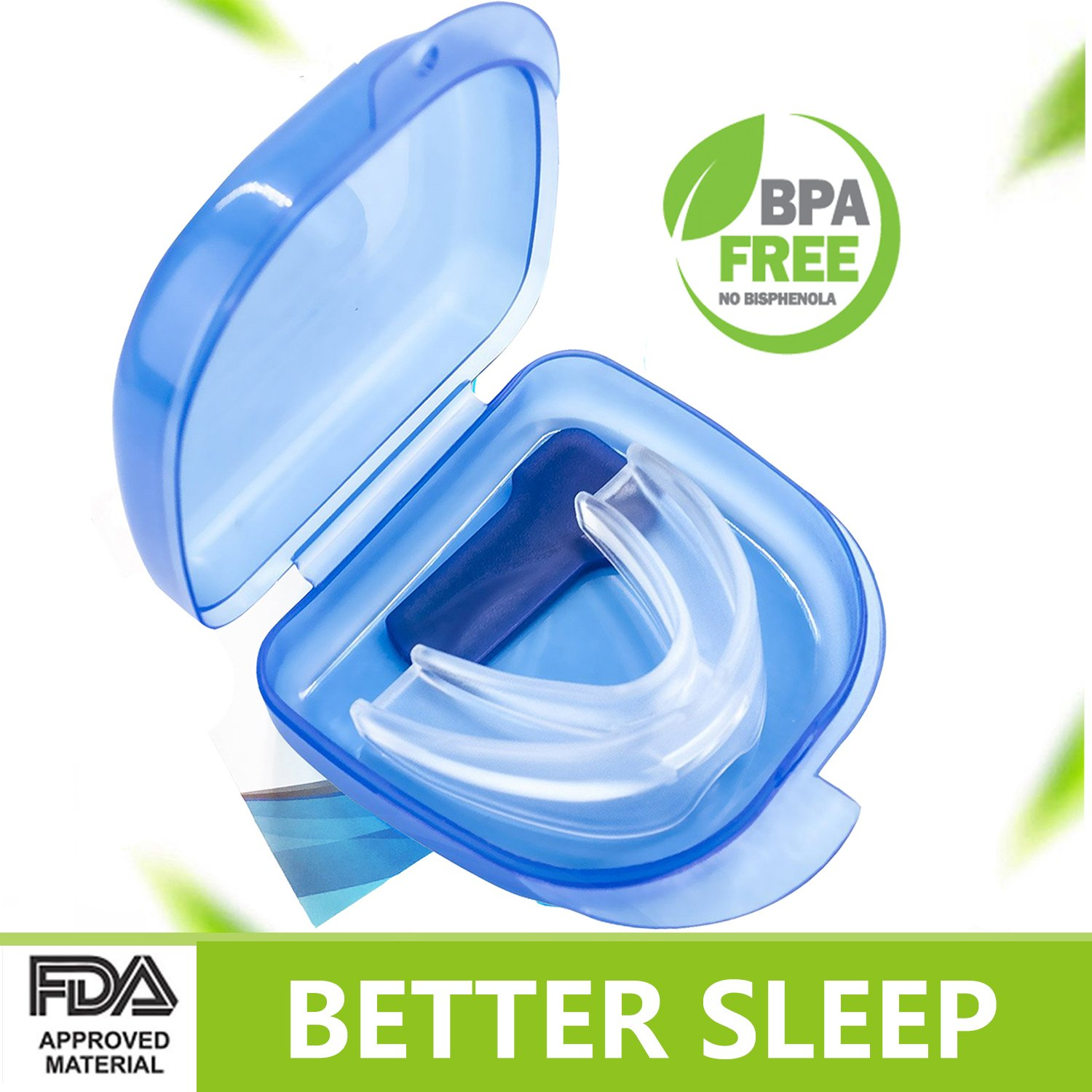 Snoring Solution Anti Snoring Mouthpiece, Mouth Guards for Teeth Grinding Sleep Aid Custom Fit Night Snore Reducing Dental Guard with Case for Sleeping