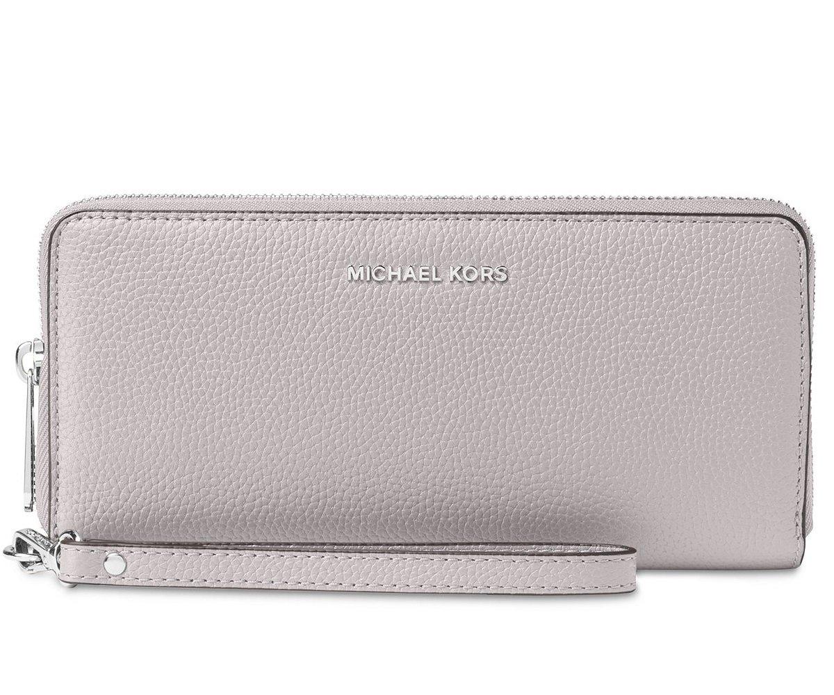 Michael Kors Jet Set Travel Continental Zip Around Leather Wallet Wristlet (Pearl Grey)