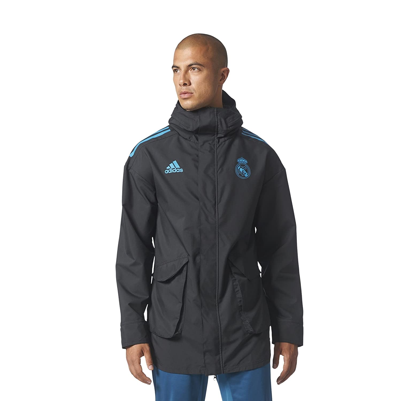 Amazon.com : 2017-2018 Real Madrid Adidas EU Allweather Jacket (Black) : Sports & Outdoors