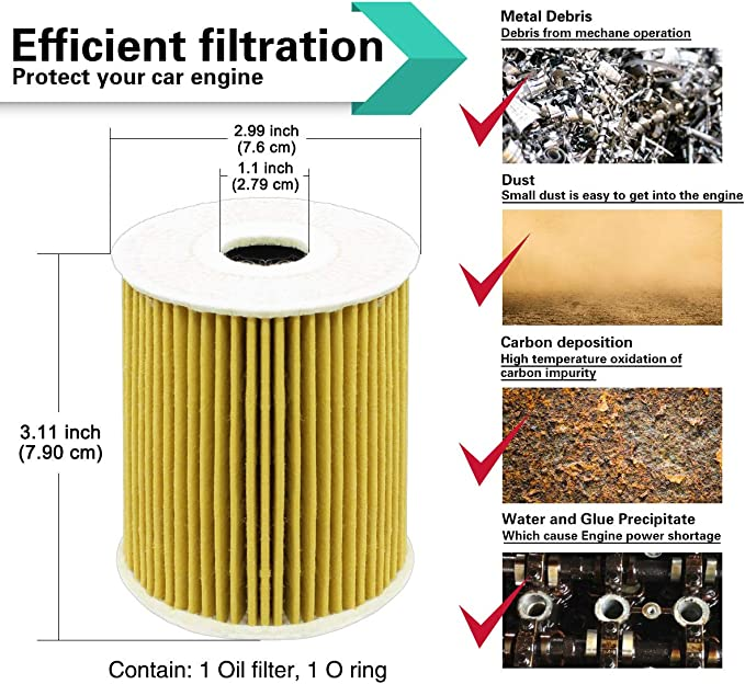 Set of 1 iFJF HU819X Oil Filter Element for Volvo S40 V40 C70 S60 S70 V70 S80 XC70 XC90 Replaces 1275810 1275811 12758116 PF2250G 72206WS 57021 CH8712