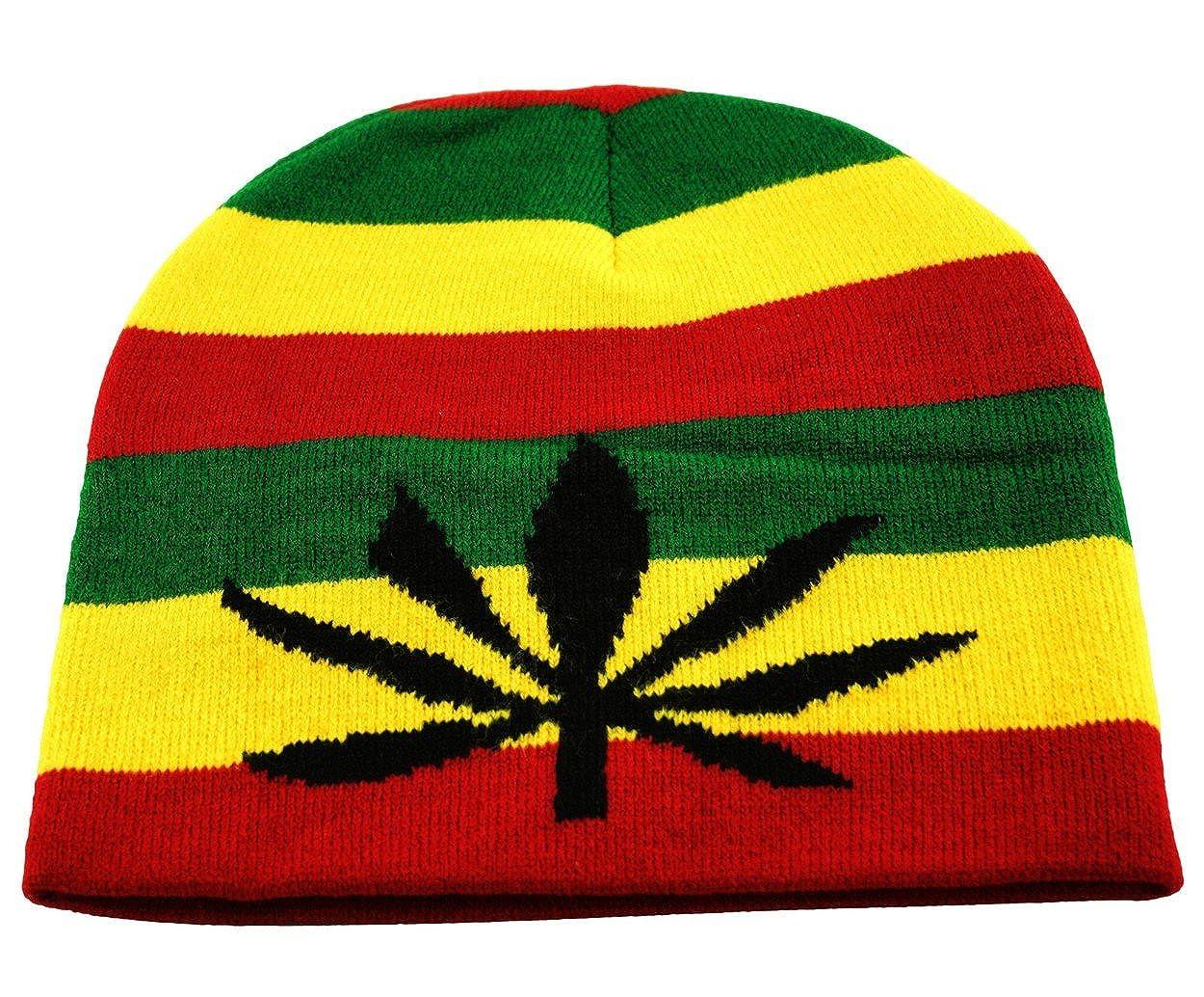 722850791 Rasta Skully Beanie Knit Hat Cap Weed Ganja Leaf in Black Red Yellow Green