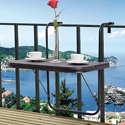 Strange Tangkula Balcony Folding Deck Table Patio Outdoor Garden Adjustable Hanging Railing Serving Table Stand Black Home Remodeling Inspirations Genioncuboardxyz