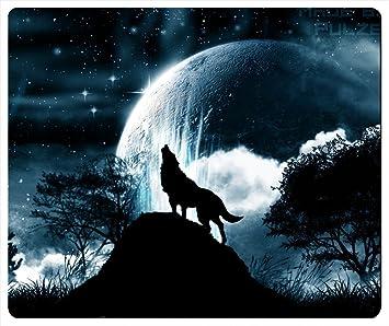 Lobo Aullando A La Luna Rectangular Mouse Pad Amazones Oficina Y