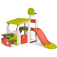 Smoby 840203 - Fun Center XXL Speelhuis met glijbaan, basketbalkorf, zitvlak, voetbaldoel met net, klimwand, voor de…