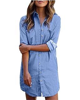 Style Dome Blusa Vaquera Camisa de Mujer Botones Elegantes de Manga Larga para Mujer Blusa de Mujer Túnica de Mujer Elegante Larga Grande Azul denim-649683 M: Amazon.es: Ropa y accesorios