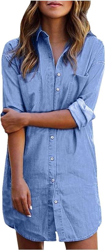 StyleDome - Vestido - Camisa - Manga Larga - para Mujer Azul Azul Claro 50: Amazon.es: Ropa y accesorios