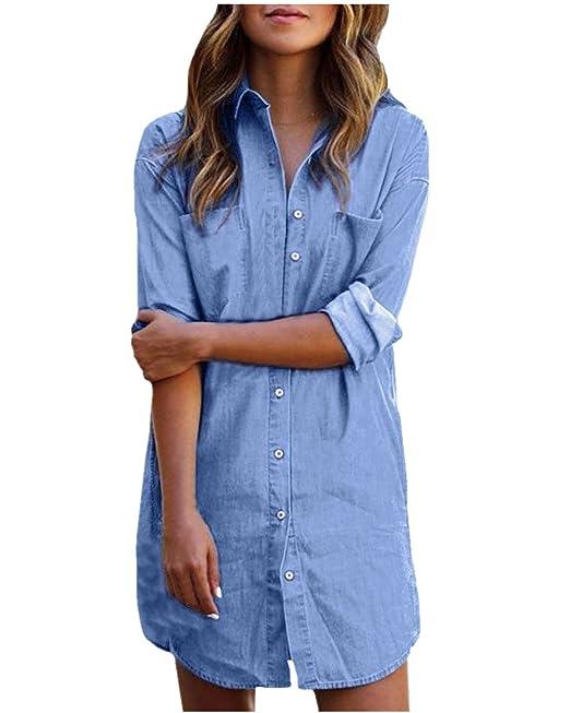 0785ea078 StyleDome Mujer Blusa Camisa Vaquera Larga Mangas Largas Casual Elegante  Oficina  Amazon.es  Ropa y accesorios