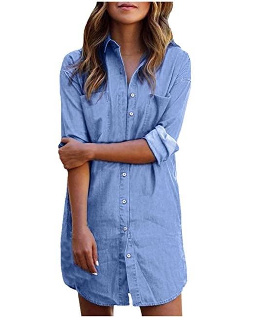 StyleDome Mujer Blusa Camisa Vaquera Larga Mangas Largas Casual Elegante Oficina Azul EU 42