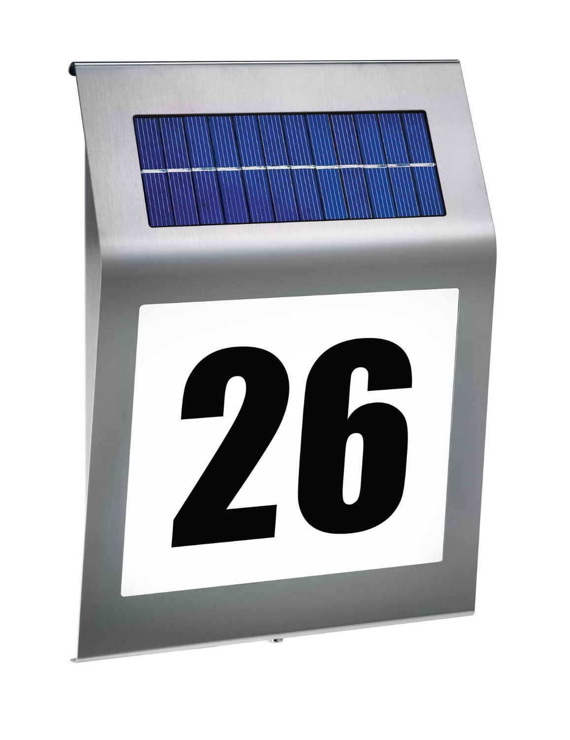 niceEshop(TM) Solar Lighted Address Sign House Number, Outdoor Highlight Stainless Steel 3LED Wall Illuminator Waterproof Solar House Address Light,Wall Light (18X18X5cm)