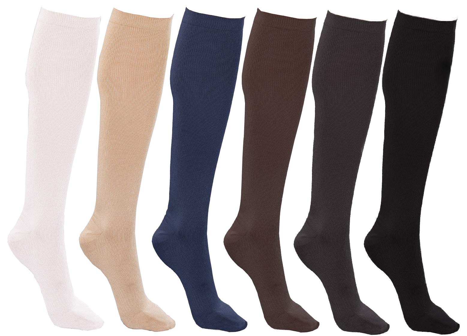 Women's Trouser Socks, 6 Pairs, Opaque Stretchy Nylon Knee High, Many Colors (6 Pairs Assorted #4)