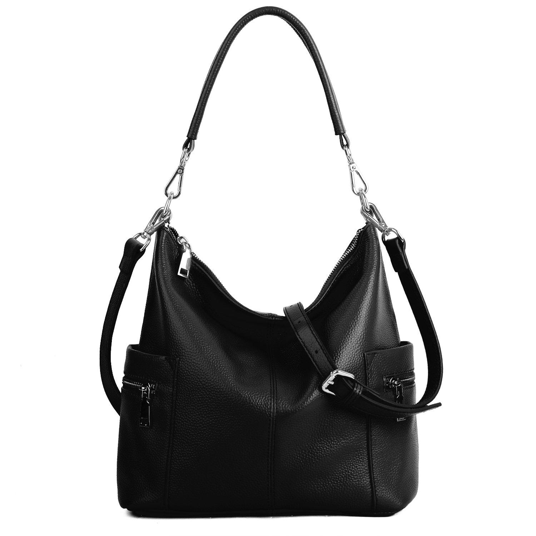YALUXE Women's Multi Pocket Soft Cowhide Leather Medium Purse Hobo Style Shoulder Bag Black