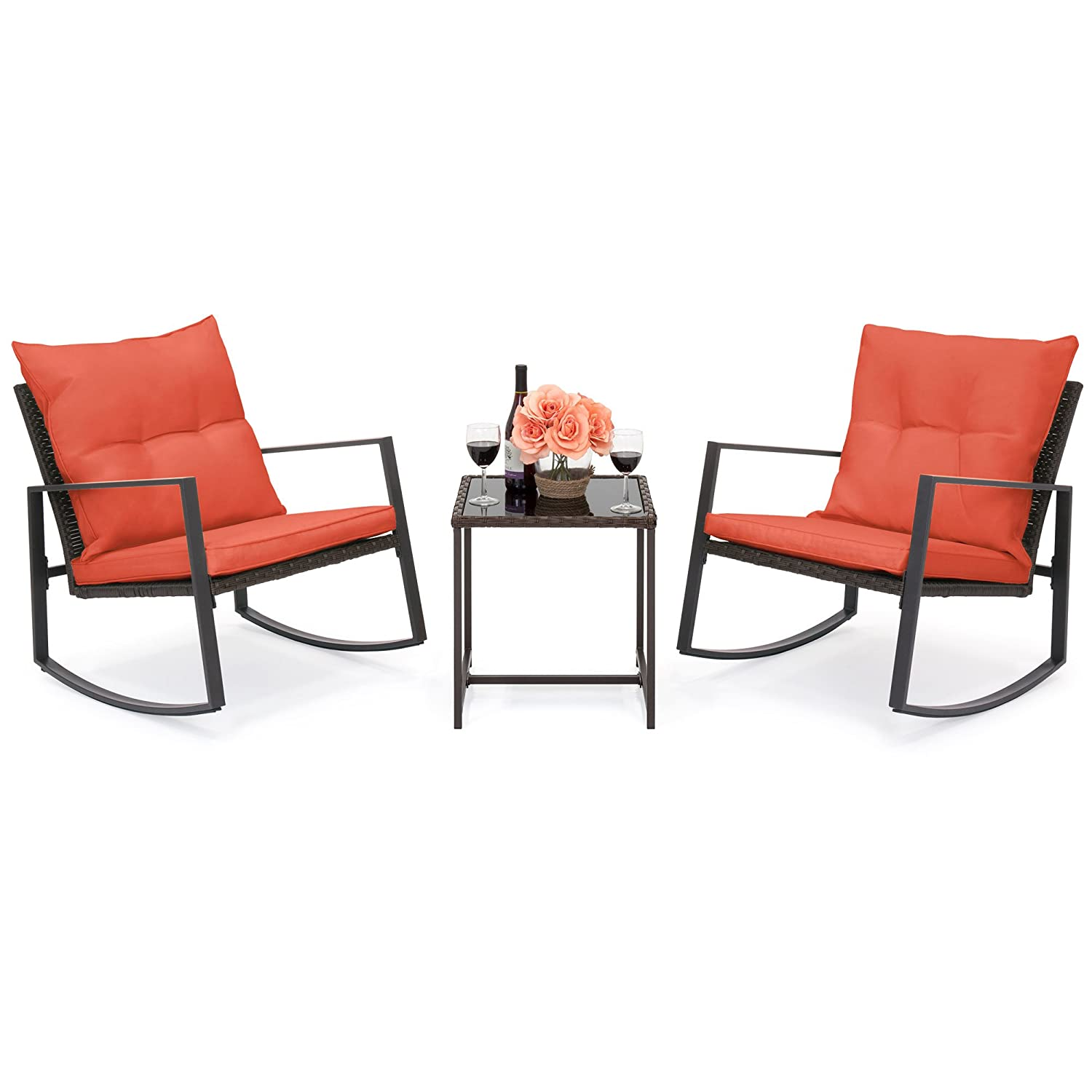 Best Choice Products 3-Piece Patio Wicker Bistro Furniture Set w 2 Rocking Chairs, Glass Side Table, Cushions – Red
