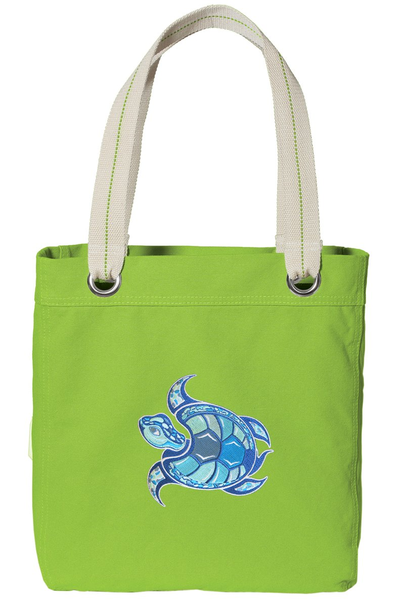 Sea Turtle Tote Bag RICH Dye Washed COTTON CANVAS FASHION LIME