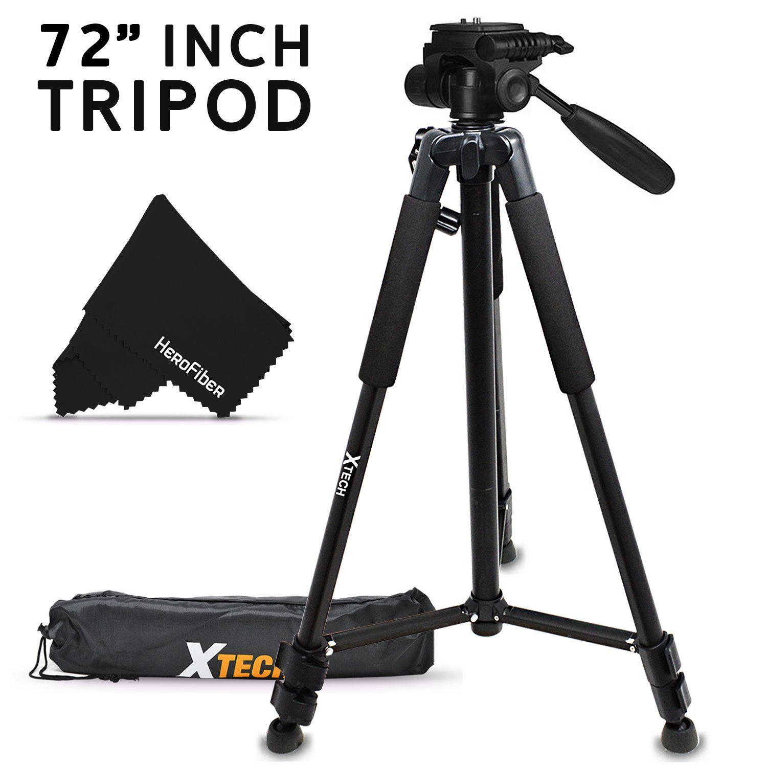 Durable Pro Grade 72 inch Full size Tripod with 3 way Pan-Head, Bubble level indicator, 3 Section Aluminum alloy lock in legs for Nikon D750 Nikon D5500, D5300, D5200, D5100, D3300, D3200, D3100, D7100, D7000, D750, D4, D4S, D3, D3S, D3X, D810, D800, D800