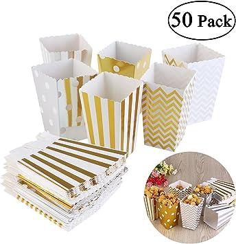 NUOLUX Cajas de palomitas de cartón para dulces de fiesta Conjunto de 50 Multicolor: Amazon.es: Bricolaje y herramientas