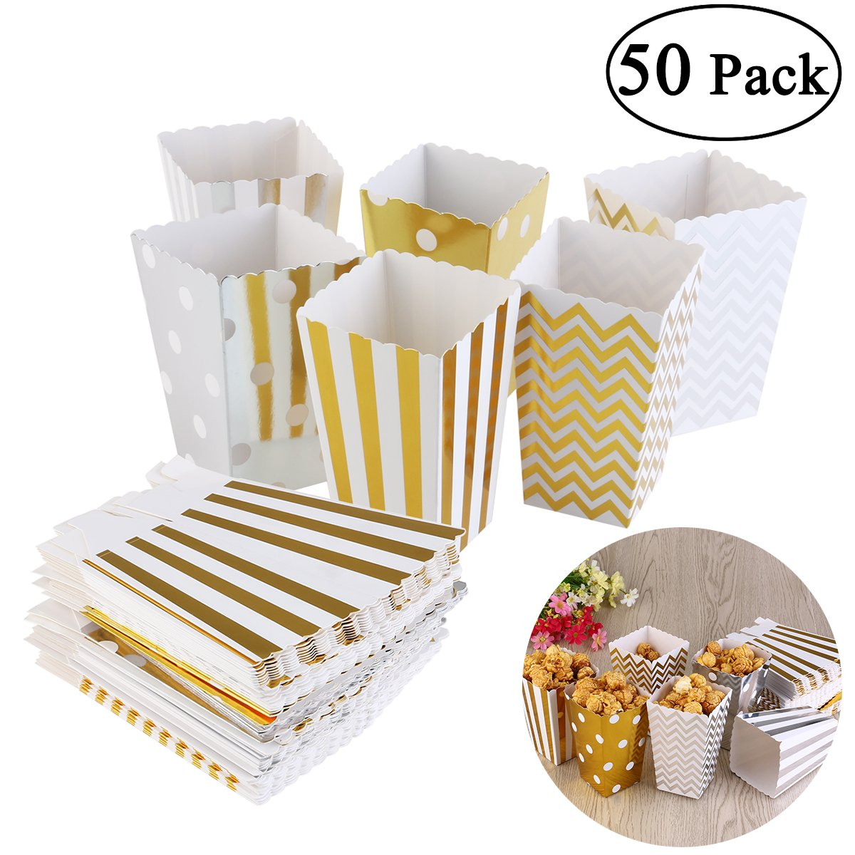 NUOLUX Popcorn Boxes Party Candy boxes 50pcs by NUOLUX