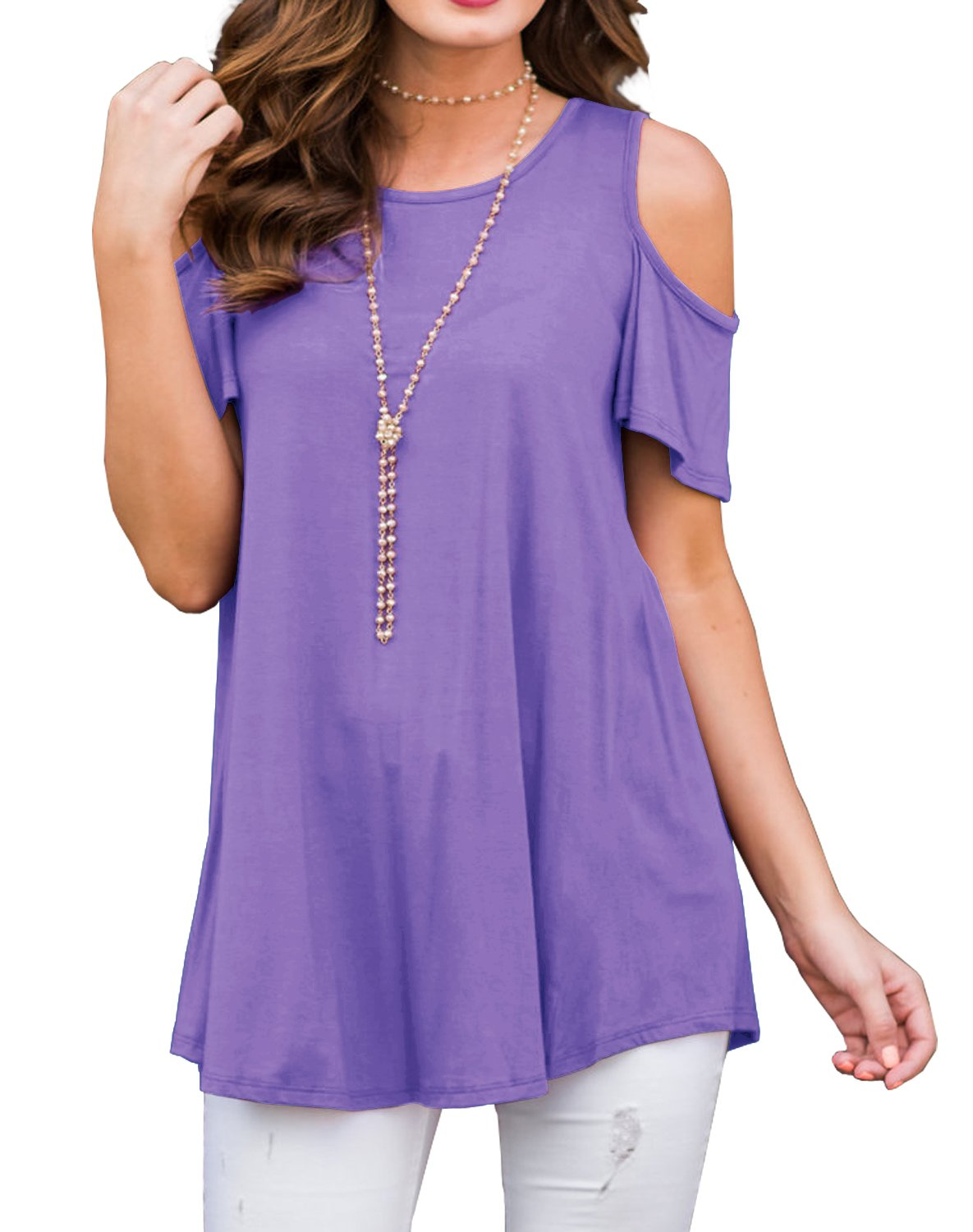 PrinStory Women's Short Sleeve Casual Cold Shoulder Tunic Tops Loose Blouse Shirts Light Purple-2XL