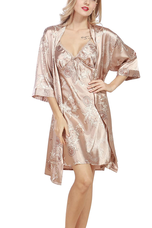ec5c797c0b 4PING Women Sexy Robe Night Gown Silk Two-Piece Suit Sleepwear at Amazon  Women's Clothing store: