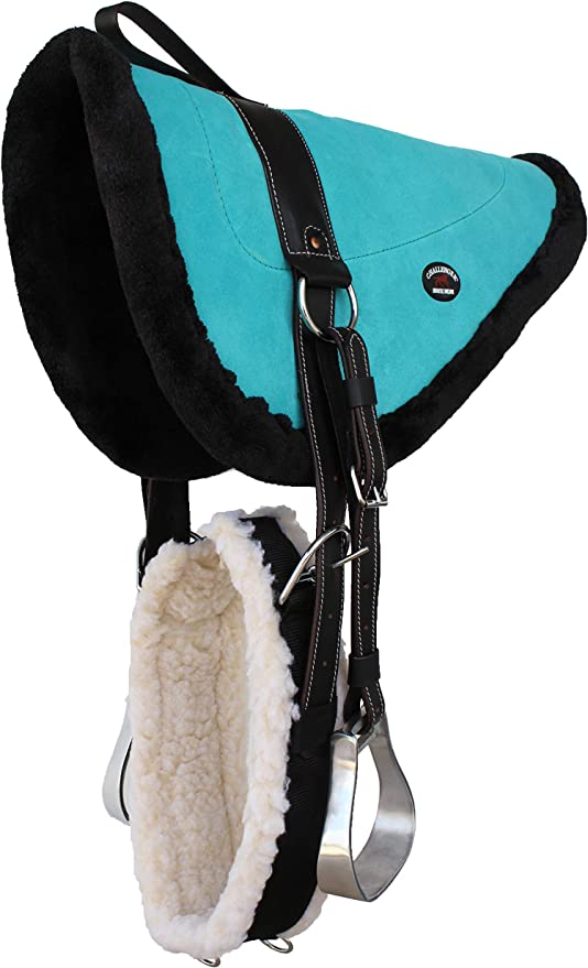 Western Black Suede Leather BareBack Saddle Pad