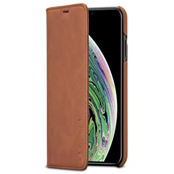 KANVASA Funda iPhone XS MAX Tipo Libro Piel Marrón Case Cover Carcasa Plegable Cartera Pro en Piel Auténtica Premium para Apple iPhone XS MAX / 10S ...