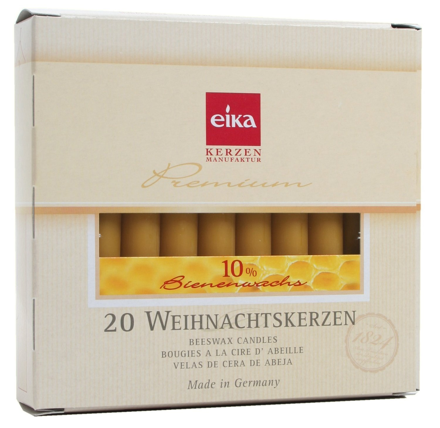 Eika Box of 20 Finest Beeswax Tree Candles Honey Yellow 10 Percent Beeswax High 10.5 Centimeters Made in Germany