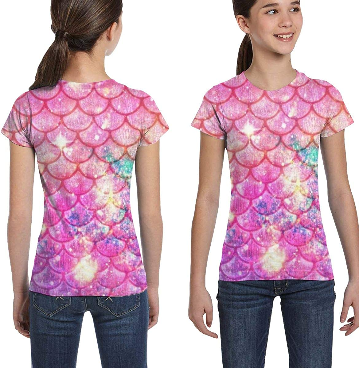 Girls Casual Loose Short Sleeve Mermaid Pattern Fashion Round Neck Tops Tee Shirts