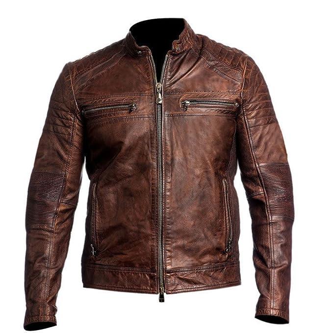 Mens Biker Vintage Style Cafe Racer Leather Jacket Brown Small