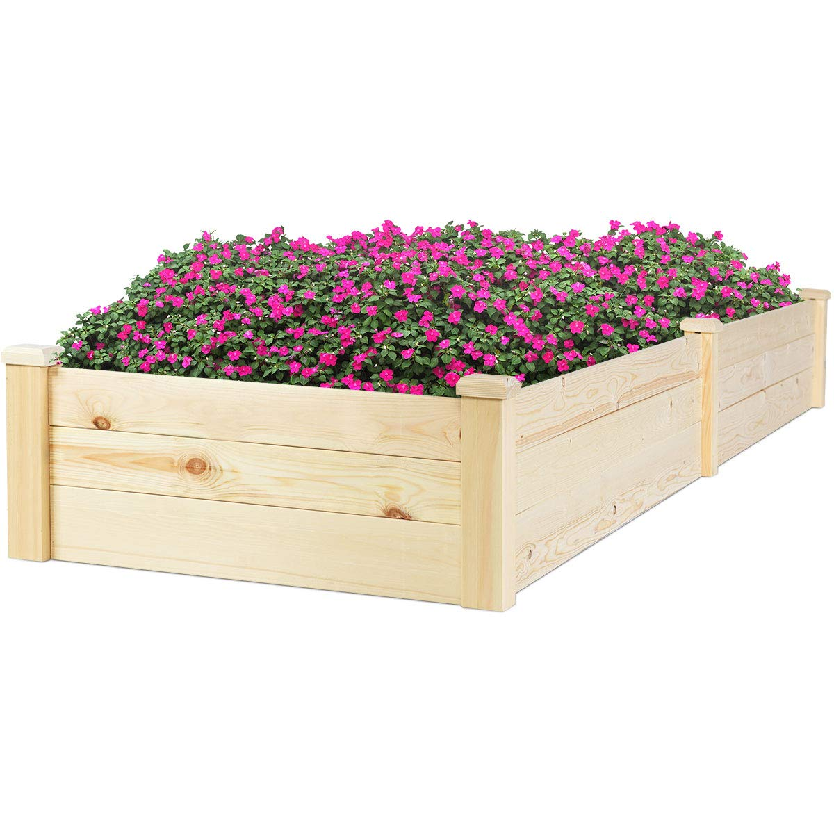 Giantex Raised Garden Bed Planter Wooden Elevated Vegetable Flower Rectangular Planter Kit Box Outdoor Patio Backyard, 97''Lx 25.5''Wx 10''H