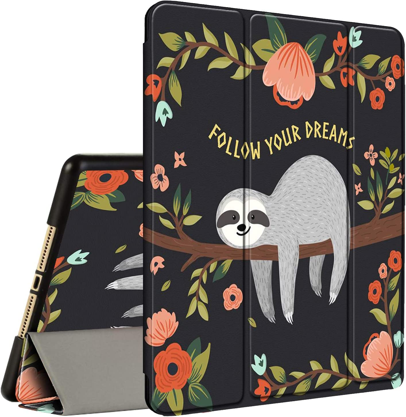 iPad 10.2 Case (2020/2019) 8th/7th Generation ipad Case with Pencil Holder, AMOOK Tri-Fold Stand Smart Protective Cover Case for New Apple iPad 8/7 Gen 10.2 inch-Cute Sloth