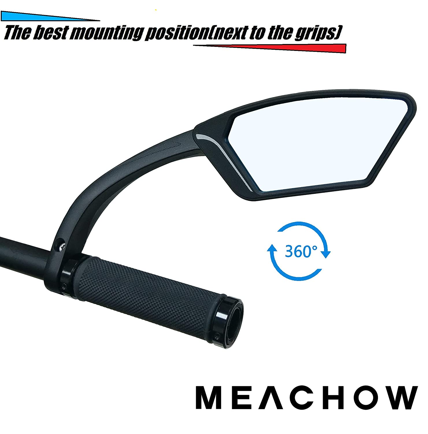 MEACHOW New Scratch Resistant Glass Lens,Handlebar Bike Mirror Bicycle Mirror,ME-002 Rotatable Safe Rearview Mirror