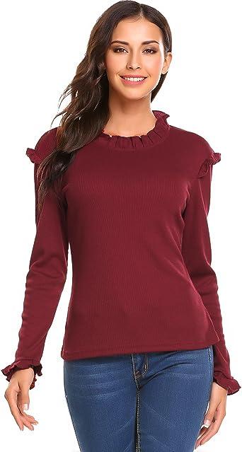 Zeagoo - Camisas - Manga Larga - para Mujer Rojo Rojo Vino L: Amazon.es: Ropa y accesorios
