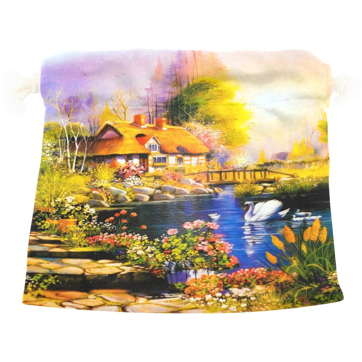 Dragon Sword Sunset Log Cabin Flowers Painting Gift Bags Jewelry Drawstring Pouches for Wedding Party, 12.6x17 Inch